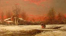 George Washington Nicholson American, 1832-1912 Snowy Day at Dusk
