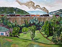 Marjorie Acker Phillips American, 1894-1985 Train on a High Bridge, 1947