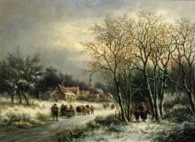 Attributed to Leon Schulman Dutch, 1851-1963 Figures in a Winter Landscape, 1869