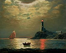 James Gale Tyler American, 1855-1931 Sailboat with Lighthouse at Night