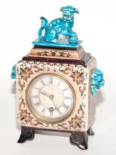 Chinoiserie Style Enamel, Turquoise and Ceramic Mantel Clock