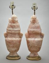 Pair of Chinese Carved Rose Quartz Urn-Form Lamps