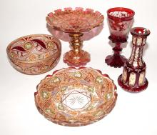 Group of Five Bohemian Style Gilt, Enameled or Engraved Ruby Flashed Glass Articles