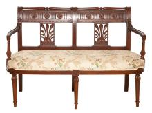 Directoire Style Upholstered Mahogany Double Chair Back Settee