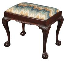 George II Style Upholstered Mahogany Stool
