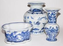 Three Asian Blue and White Porcelain Articles