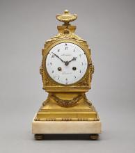 Louis XVI Style Gilt-Bronze and White Marble Mantel Clock