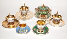 Five Continental Porcelain Cups and Saucers; Together with a Continental Porcelain Covered Urn and Stand