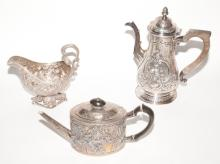 Group of Three Sterling Silver Repousse Table Articles