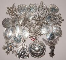 Group of Sterling Silver Christmas Tree Ornaments