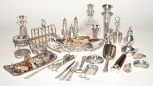 Miscellaneous Group of Sterling Silver and Silver Plated Table Articles Approximately thirty-five pieces.