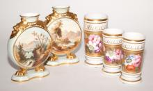 Pair of Davenport Porcelain Vases; Together with Three English Porcelain Vases