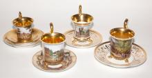 Group of Four KPM Porcelain Cup and Saucers
