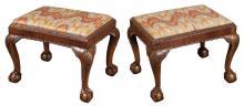 Pair of George II Style Upholstered Walnut Stools