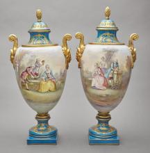 Pair of Sevres Style Gilt and Polychrome Decorated Porcelain Vases