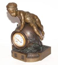 Napoleon III Gilt and Patinated-Bronze Figural Mantel Clock