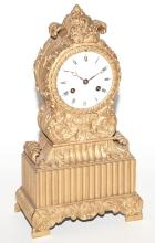 Restauration Style Gilt-Bronze Mantel Clock