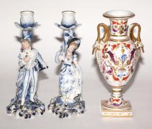 Paris Porcelain Vase; Together with a Pair of Continental Blue and White Porcelain Figural Candlesticks
