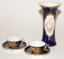 Meissen Gilt and Polychrome Decorated Porcelain Vase; T/W Two English Gilt and Polychrome Decorated Porcelain Teacups and Saucers