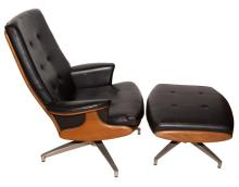 Heywood-Wakefield Black Vinyl and Stained Wood Lounge Chair and Ottoman
