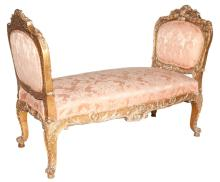 Louis XV Style Upholstered Giltwood Window Bench