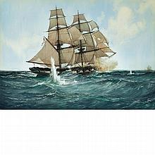 Montague Dawson British, 1890-1973 Chasing the Slaver: Her Majesty's Brig Acorn  in Chase of the Piratical Slave...