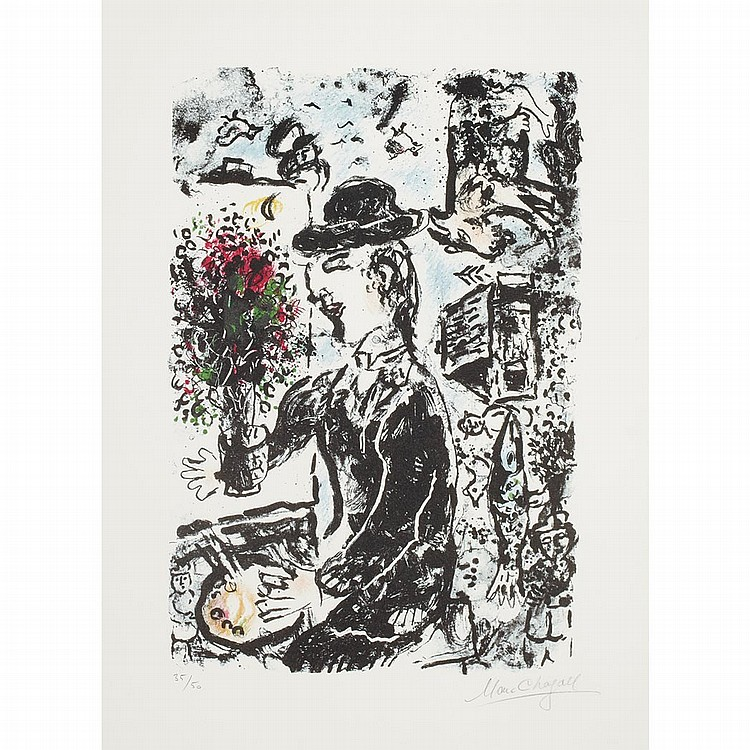 Marc chagall le peintre au chapeau color lithograph for Chagall peintre