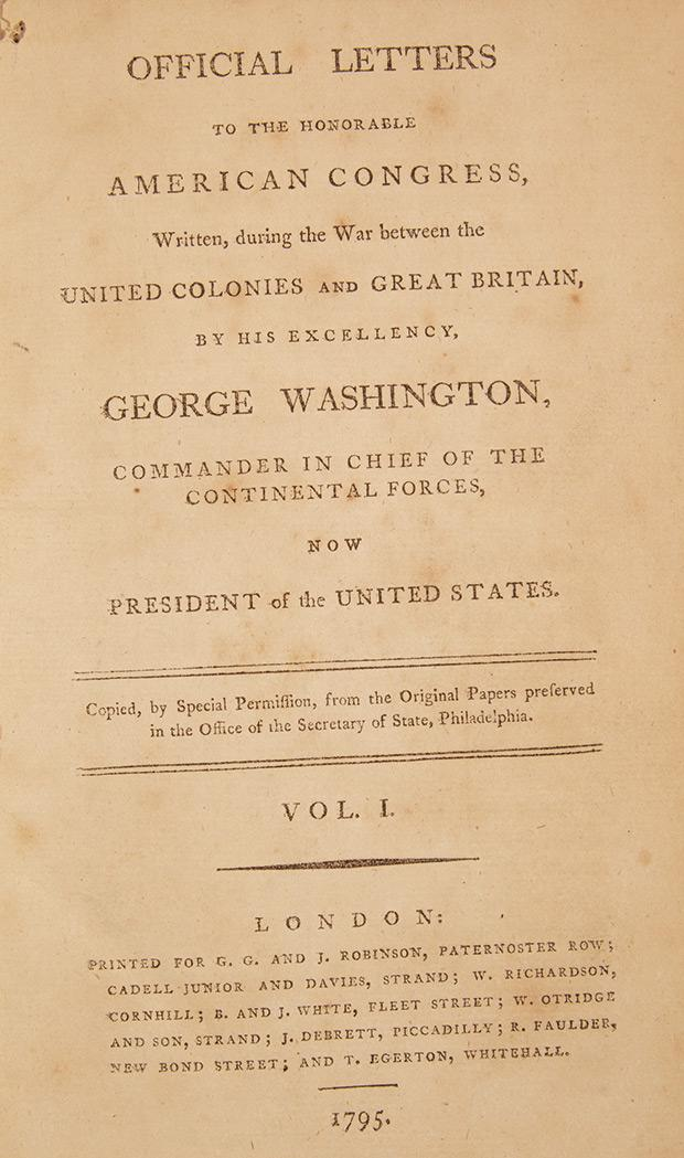 WASHINGTON GEORGE Official Letters To The Honorable America