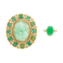Gold, Carved Jade and Cabochon Emerald Pendant-Brooch and Cabochon Jade Ring