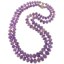 Double Strand Fluted Amethyst Bead Necklace with Silver Clasp