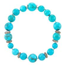 Turquoise Bead, White Gold and Rock Crystal Bead Necklace, Sabbadini