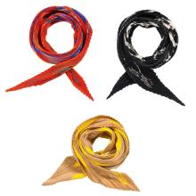 Two La Carré Plissé 'Brides et Frontaux and Jazz' Silk Scarves, Hermès, Paris and Pleated Silk Scarf, Missoni
