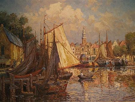 Willem Heytman Dutch, b. 1950 Harbor Scene