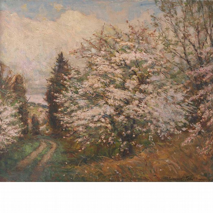 Robert Emmett Owen American, 1878-1957 Landscape with Flowering Tree