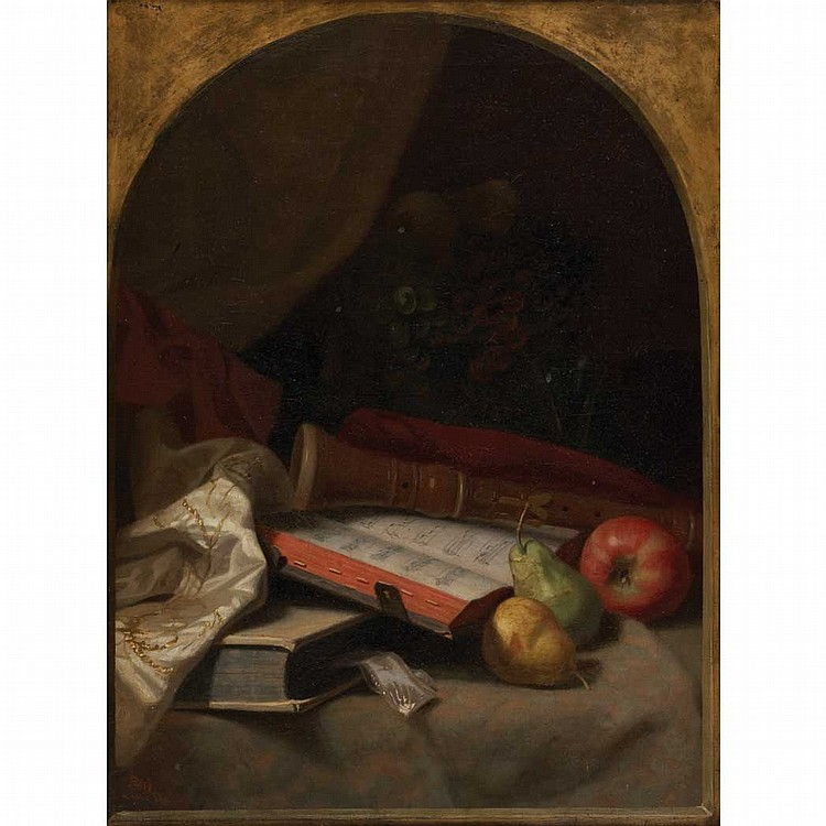 George W. Platt American, 1839-1899 Still Life with Fruit, Book and Recorder, 1873