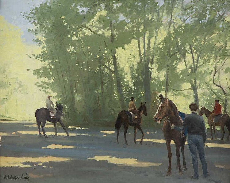 Henry Robertson Craig British, 1916-1984 In the Forest, Chantilly, 1962 and Horses at Chantilly, 1962: Two