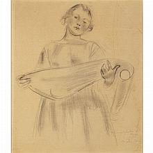 Anton Faistauer Austrian, 1887-1930 Woman Holding a Length of Fabric, 1922