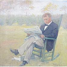 Clara D. Davidson American, 1874-1962 Portrait of a Man Seated in a Rocker Reading the Paper