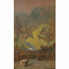 Louis Michel Eilshemius American, 1864-1941 (i) Woman Washing Her Hair (ii)  Nude in Landscape