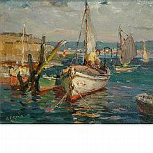 Antonio Cirino Italian/American, 1889-1983 Boats in a Harbor