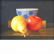 Jean-Claude Chauray French, 1934-1996 Pomme, Poire et Coupe Chinois   Signed Chauray (ul); inscribed as titl...