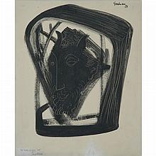 Percival Goodman American, 1904-1989 Untitled (Head of a Saytr), 1958