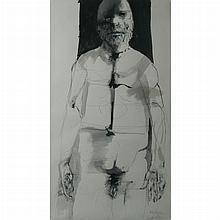 Leonard Baskin American, 1922-2000 Male Nude, Three-Quarter Figure, 1971