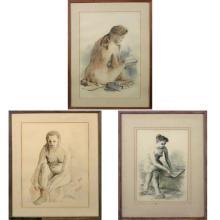 Woldemar Neufeld Ukranian, 1090-2002 (i) Rest Period, 1960 (ii) Girl Dressing (iii) Model Writing