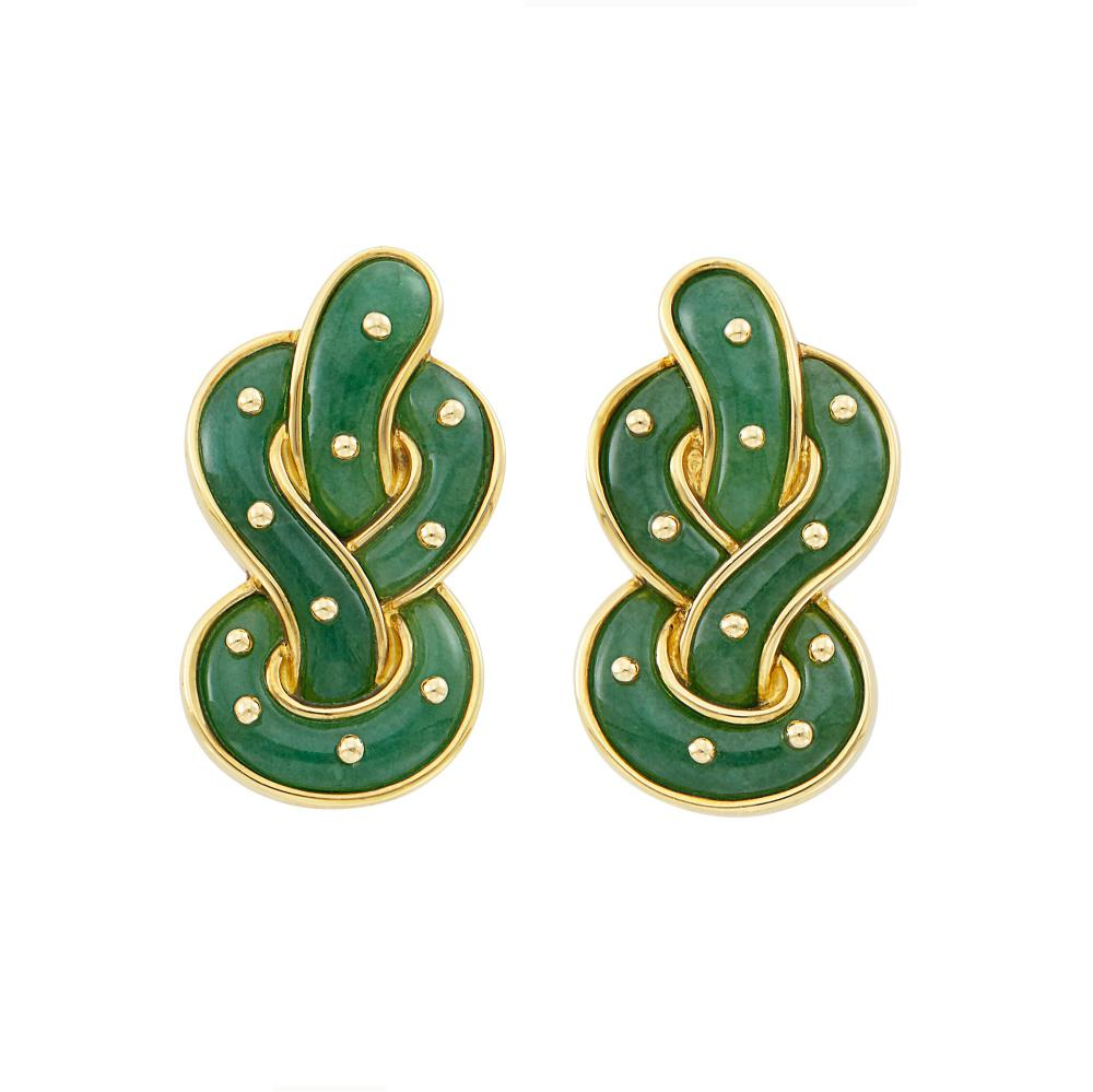 Pair of Gold and Aventurine Quartz Pretzel Earclips, Angela Cummings