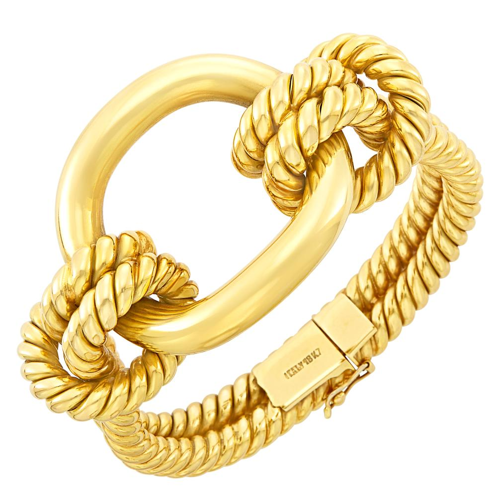 Rope-Twist Gold Bangle Bracelet