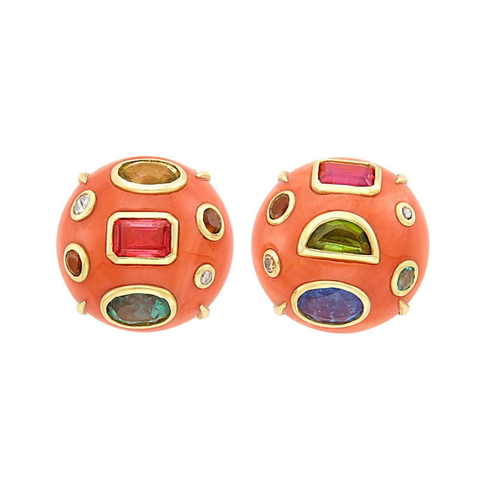 Pair of Gold, Coral, Gem-Set and Colored Diamond Earclips