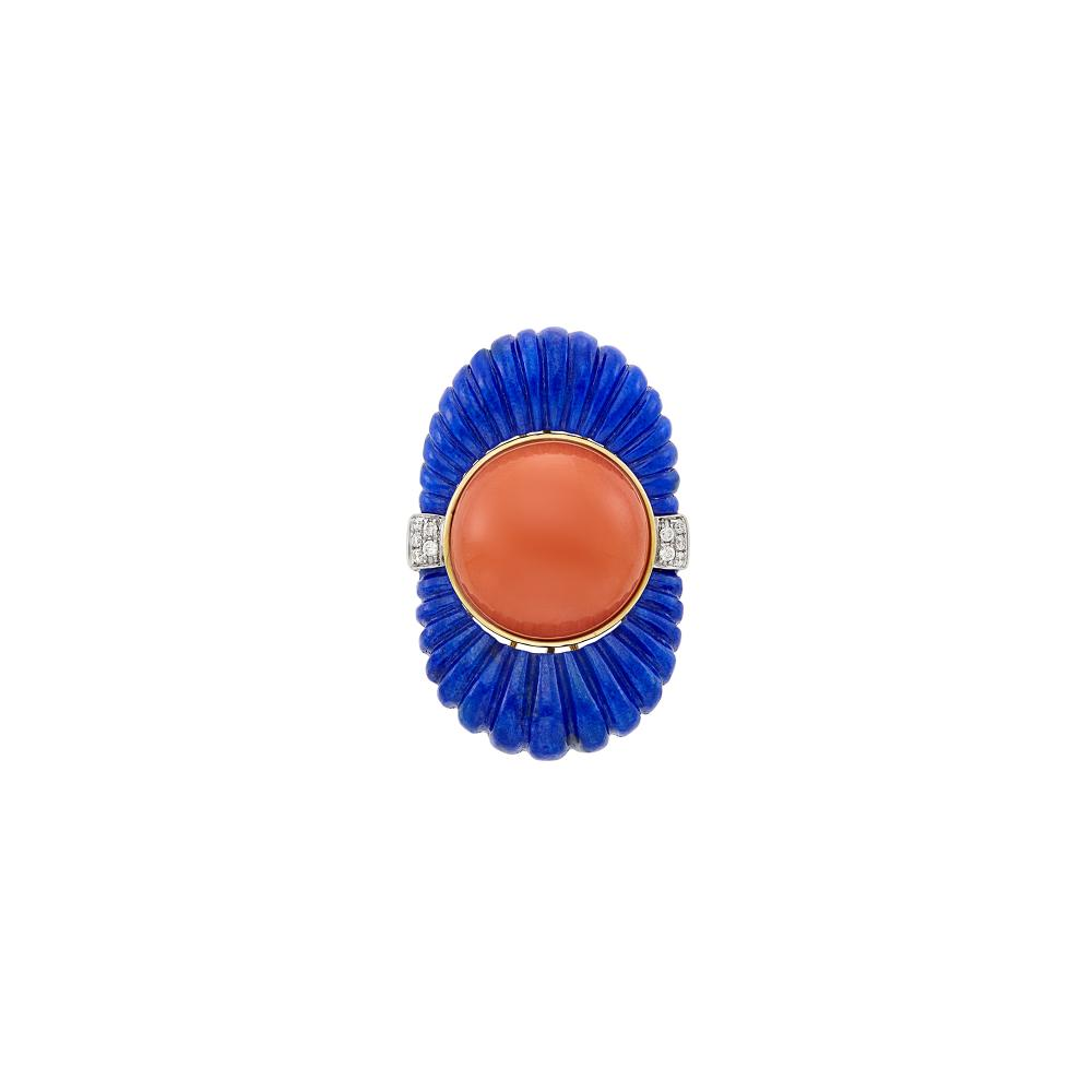 Gold, Fluted Lapis, Coral and Diamond Ring