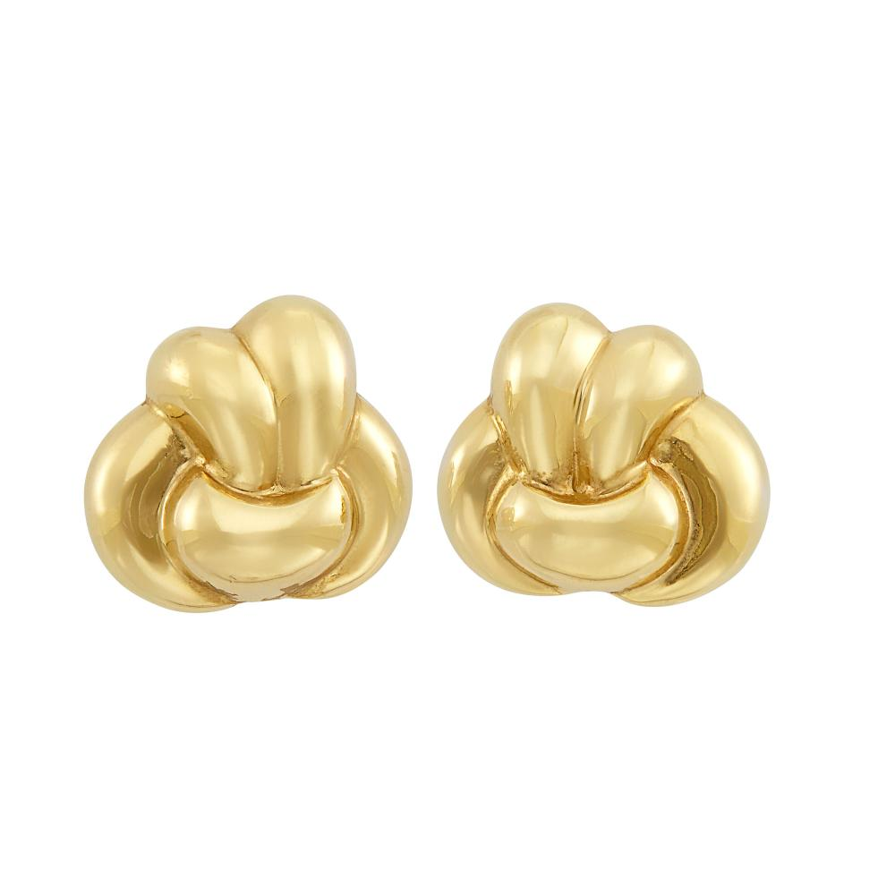 Pair of Gold Knot Earclips, Verdura
