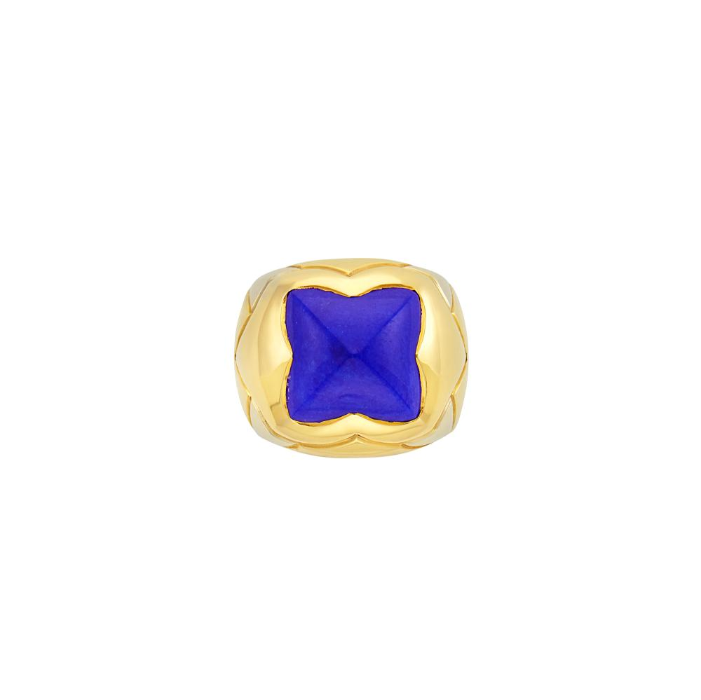 Two-Color Gold and Lapis 'Pyramid' Ring, Bulgari